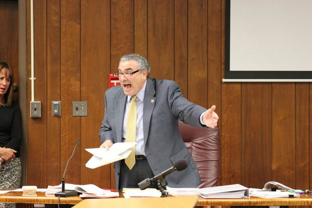 PHOTO: Prosecutor Steven Zabarsky making his case for the maximum sentence for the Morgans to Judge Robert LePore. Ashley Peskoe/NJ.com